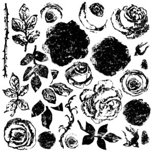 PAINTERLY ROSES 12×12 DECOR STAMP